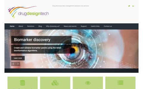 Screenshot of Home Page drugdesigntech.com - Drugdesigntech SA - Drug discovery data management solutions and services - captured Nov. 14, 2018