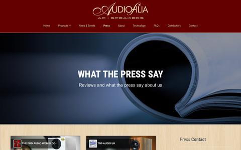 Screenshot of Press Page af-speakers.com - Audiofilia - AF-Speakers, High-end Loudspeakers - captured Feb. 6, 2016