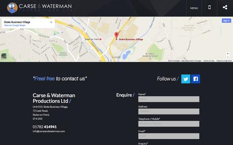 Screenshot of Contact Page carseandwaterman.com - Contact | Carse & Waterman - captured Nov. 1, 2014