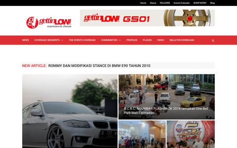 Screenshot of Home Page gettinlow.com - GETTINLOW | AUTOMOTIVE & LIFESTYLE, MAJALAH ONLINE TREND MODIFIKASI INDONESIA - captured Dec. 4, 2016