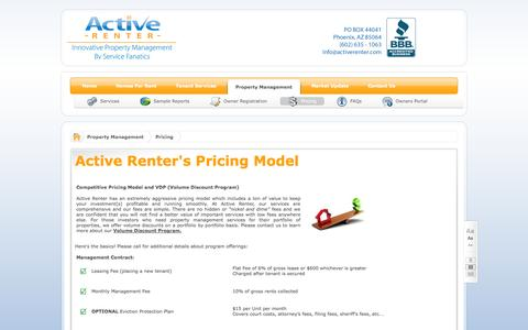 Screenshot of Pricing Page activerenter.com - Active Renter Management Services Pricing - captured Oct. 4, 2014