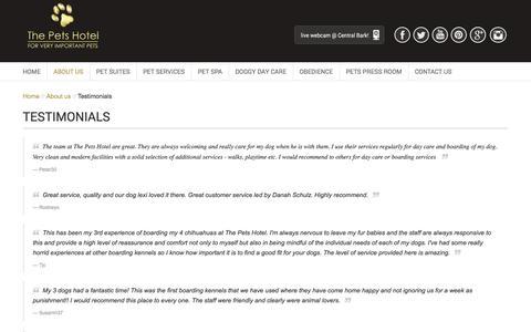 Screenshot of Testimonials Page thepetshotel.com.au - Testimonials - captured Feb. 28, 2016