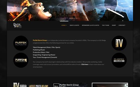 Screenshot of Home Page purfekstorm.com - Purfek Storm Group - captured Feb. 1, 2016