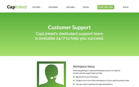 Screenshot of Support Page caplinked.com - Customer Support   CapLinked - Ensuring Client Success - captured July 25, 2019