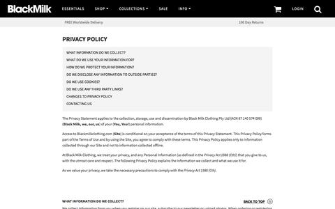 Privacy Policy – Black Milk Clothing