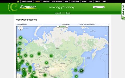 Screenshot of Locations Page europcar.ru - Europcar Russia - Worldwide Locations - captured Sept. 23, 2014