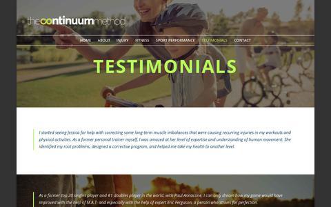 Screenshot of Testimonials Page thecontinuummethod.com - Testimonials | The Continuum Method - captured July 1, 2018