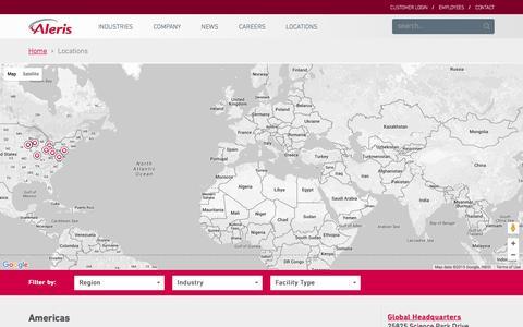 Screenshot of Locations Page aleris.com - Locations - Aleris - captured Dec. 24, 2015