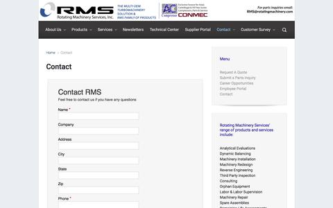 Screenshot of Contact Page rotatingmachinery.com - Contact – Rotating Machinery - captured Nov. 4, 2019