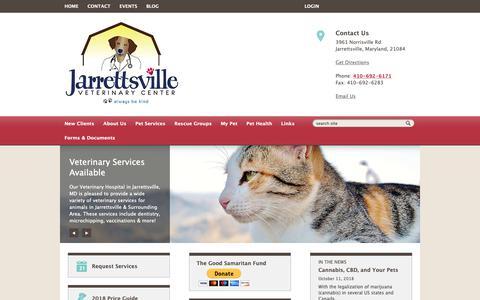 Screenshot of Home Page jarrettsvillevet.com - Jarrettsville Veterinary Center | Jarrettsville, Maryland - captured Oct. 13, 2018