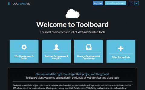 Screenshot of Home Page toolboard.org - Toolboard   500+ Startup Tools for Development, Design, Analytics, Organisation and Business Development - captured Sept. 22, 2014