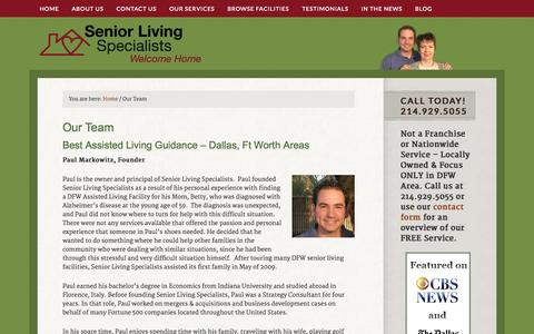 Screenshot of Team Page seniorlivingspecialists.com - Senior Living Specialists - Assisted Living Team Dallas, Ft Worth TX - captured Oct. 9, 2014