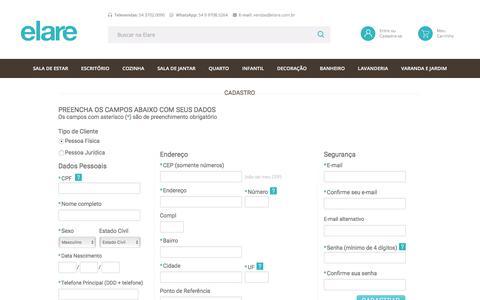 Screenshot of Login Page elare.com.br - Compre Móveis 12x Sem Juros | Elare - captured Sept. 24, 2018