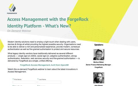 Screenshot of Landing Page forgerock.com - ForgeRock Webinar - captured Dec. 16, 2016
