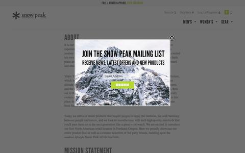 Screenshot of About Page snowpeak.com - About Đ Snow Peak - captured Oct. 27, 2015