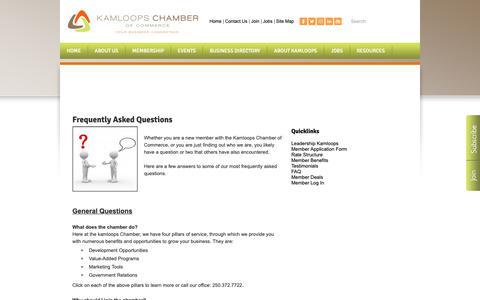 Screenshot of FAQ Page kamloopschamber.ca - FAQ - Kamloops Chamber of Commerce | Kamloops, BC - captured Oct. 14, 2018