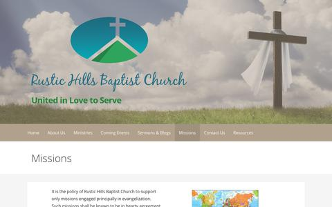 Screenshot of FAQ Page rustichillsbaptist.org - Missions – United in Love to Serve - captured Oct. 23, 2017
