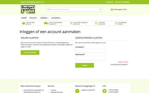 Screenshot of Login Page budgetlight.nl - Klant-login - Budgetlight - captured Oct. 29, 2014