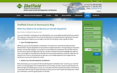 Screenshot of Blog sheffield.com - Blog - Sheffield School of Aeronautics - captured Oct. 7, 2014