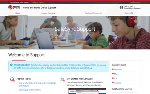 SafeSync Support - Welcome to Support -  Home and Home Office Support | Trend Micro