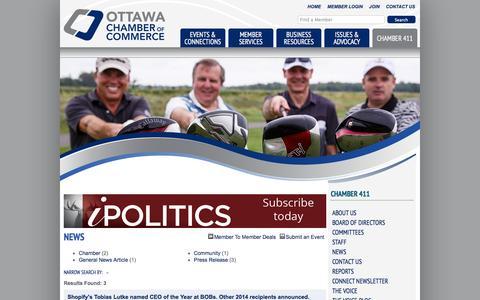 Screenshot of Press Page ottawachamber.ca - News - Ottawa Chamber of Commerce - Ottawa, Ontario | Canada - captured Nov. 5, 2014