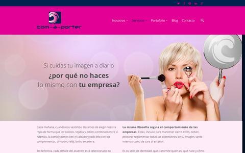 Screenshot of Services Page comaporter.com - Servicios    com-à-porter. Comunicación a medida - captured Oct. 2, 2014