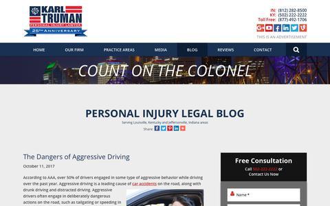 Screenshot of Blog trumanlaw.com - Personal Injury Legal Blog - captured Oct. 17, 2017