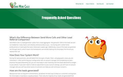 Screenshot of FAQ Page sendmorecalls.com - FAQ   Send More Calls - captured Dec. 18, 2016