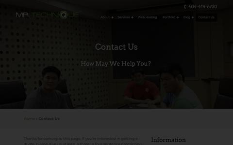 Screenshot of Contact Page mrtechnique.com - Get a Web Design or SEO Quote in Atlanta - captured Oct. 21, 2019