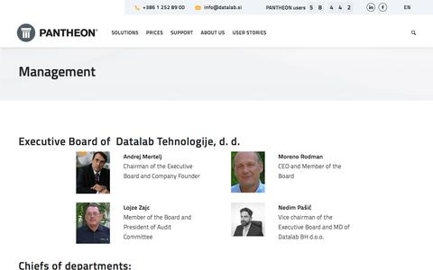 Screenshot of Team Page datalab.eu - Management - PANTHEON - captured Aug. 30, 2019