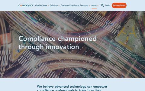 Screenshot of About Page complysci.com - About ComplySci | ComplySci - captured July 31, 2019