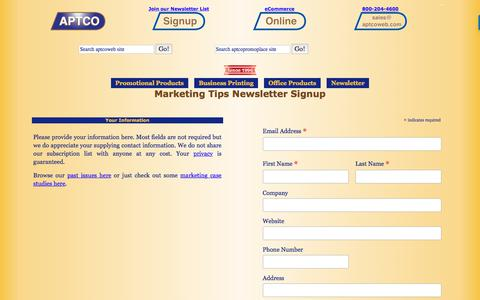 Screenshot of Signup Page aptcoweb.com - Marketing Newsletter signup for aptcoweb monthly marketing ideas - captured Oct. 7, 2017