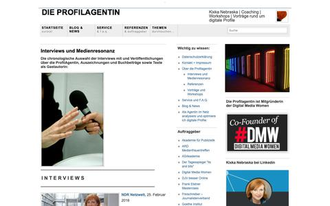 Screenshot of Press Page profilagentin.com - Interviews und Veröffentlichungen | Die ProfilAgentin - captured Oct. 9, 2018