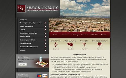 Screenshot of Privacy Page shawlines.com - Privacy Policy | Arizona Homeowners Association Attorney - captured Oct. 7, 2014