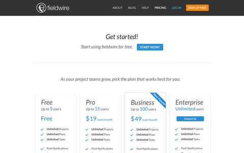 Screenshot of Pricing Page fieldwire.net - Fieldwire: Setup a project for free - captured Sept. 16, 2014