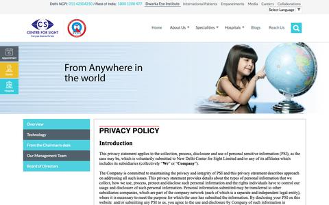 Screenshot of Privacy Page centreforsight.net - Privacy Policy - captured Nov. 3, 2018