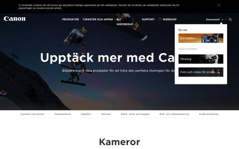 Screenshot of Products Page canon.se - Produkter för hemmabruk - Canon Svenska - captured Sept. 21, 2016