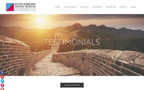 Screenshot of Testimonials Page sbtravel.com - Testimonials  - Santa Barbara Travel Bureau - captured Oct. 2, 2018