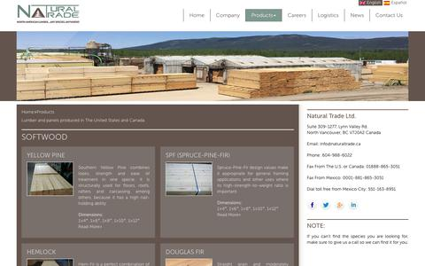 Screenshot of Products Page naturaltrade.ca - Lumber & Panel Products in United States and Canada   Natural Trade - captured Oct. 25, 2017
