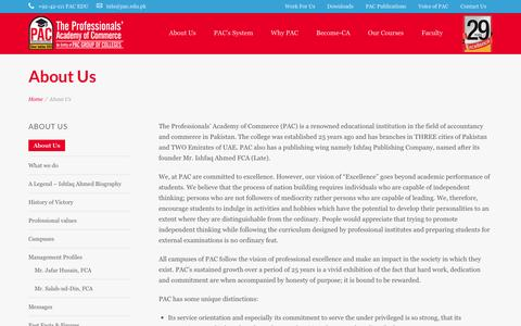 Screenshot of About Page pac.edu.pk - CA Campus Lahore - Professionals  Academy of Commerce - captured Feb. 15, 2016