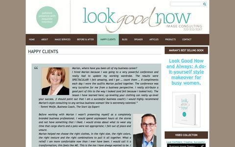 Screenshot of Testimonials Page marianrothschild.com - Boulder image consultant - captured Oct. 3, 2014