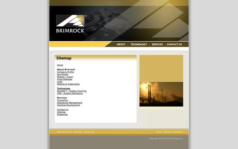 Screenshot of Site Map Page brimrock.com - Brimrock Group Inc. - Global sulphur industry consulting and operations management - captured Sept. 30, 2014