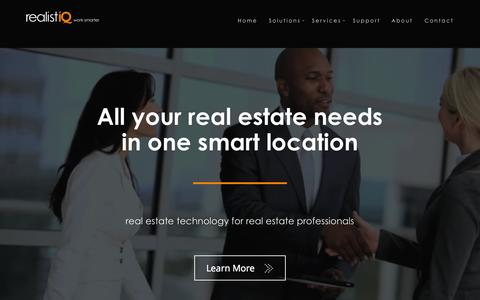 Screenshot of Home Page realistiq.com - Real Estate Technology - Intranet, CRM, IDX Web Sites, Lead and Listing Management, eMarketing, eSignatures, Transactions and More. - captured Aug. 12, 2015