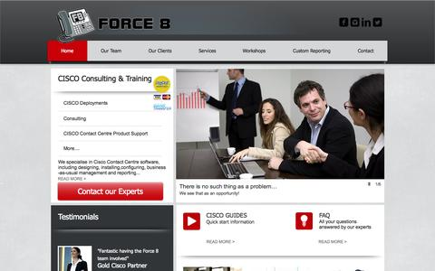 Screenshot of Home Page force8.com.au - Force8 | Peter Gale | Force 8 | CISCO Telephony | ICM | UCCE | UCCX | - captured Oct. 6, 2014