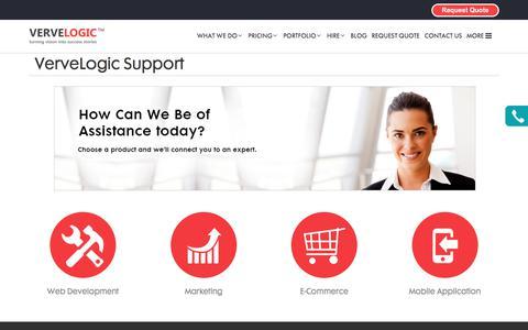 Screenshot of Support Page vervelogic.com - VerveLogic Support - captured June 12, 2017