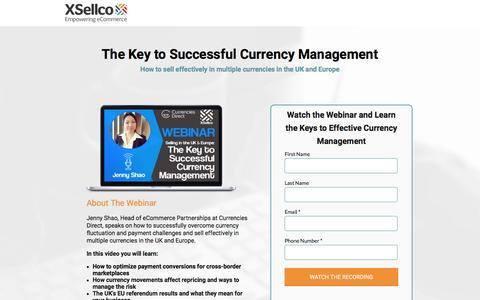 Screenshot of Landing Page xsellco.com - The Key to Successful Currency Management [Webinar] - captured Jan. 30, 2017