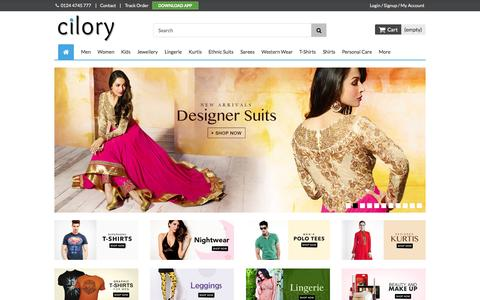 Screenshot of Home Page cilory.com - Online Shopping T-Shirt, Lingerie, Dress, Clubwear, Fashion Jewellery, Nightwear, Handbags, Sarees - Cilory - captured Oct. 14, 2015