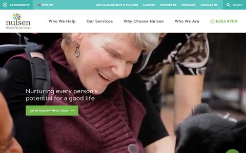 Screenshot of Home Page nulsen.com.au - Disability Services - Disability Support in Perth | Nulsen Disability Services - captured Nov. 17, 2018