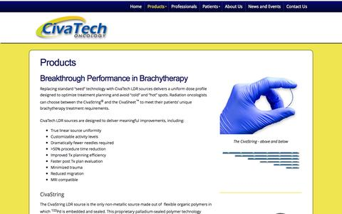 Screenshot of Products Page civatechoncology.com - CivaTech Oncology - Products - captured Sept. 13, 2014