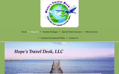 Screenshot of About Page hopestraveldesk.com - Hope's Travel Desk, Your FIRST Step Toward Getting Away - About Us - captured March 6, 2016